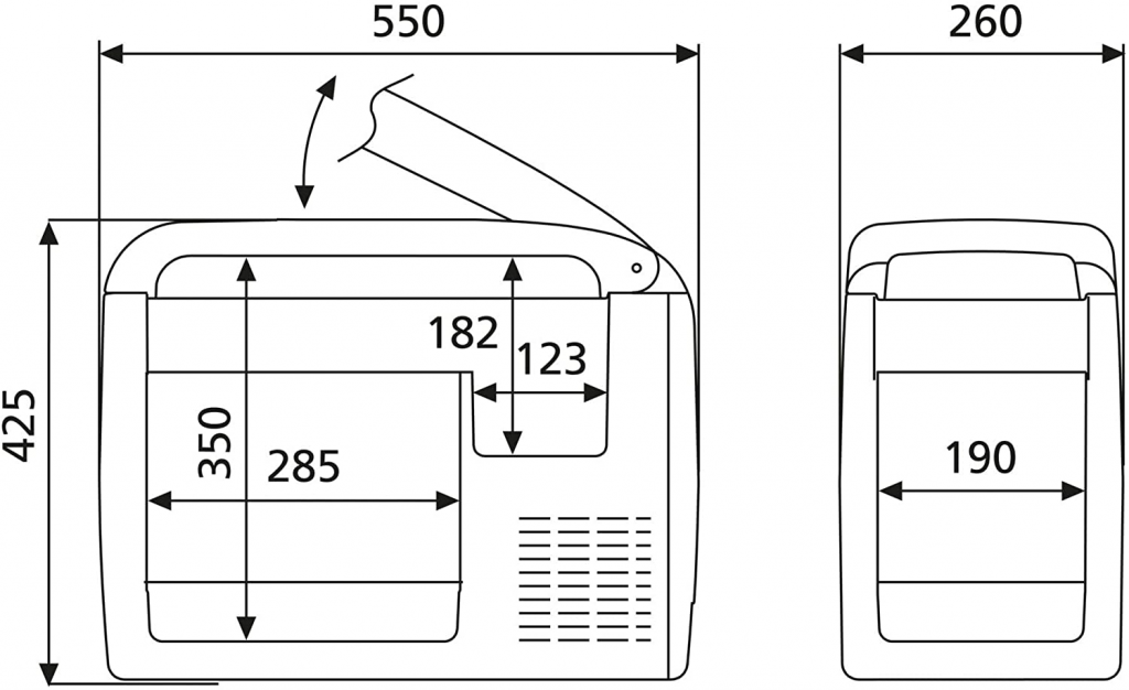 Dimensions for Transporter cooling box