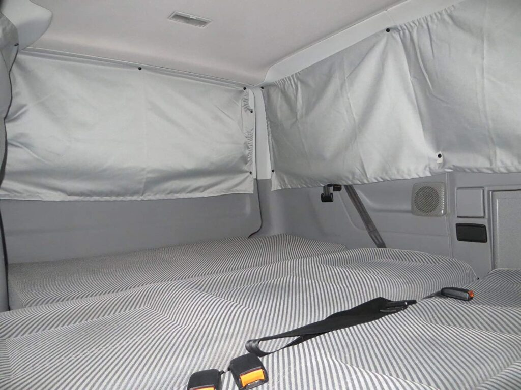 Inside a VW Transporter T4 curtains